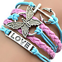 cheap Bracelets-Women's Layered Plaited ID Bracelet Wrap Bracelet Leather Bracelet - Leather Heart, Butterfly, Animal Unique Design, European, Fashion Bracelet Pink / Blue For Christmas Gifts Party Daily