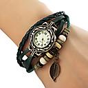 cheap Bracelet Watches-Women's Quartz Bracelet Watch Casual Watch PU Band Leaves / Bohemian / Fashion Black / Red / Orange / Brown / Green