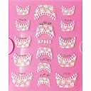billige 3D-klistremerker-1 pcs Franske design tips 3D Negle Stickers Kantklistremerker Neglekunst Manikyr pedikyr Daglig Abstrakt / Mote / Fransk Tips Guide / Lace Sticker / 3D Nail Stickers