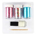 abordables Papel de Aluminio para Manicura-3PCS láser hoja del clavo Decoraciones estrellada Pegatinas con Glue Stick (color al azar Stickers)