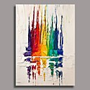 abordables Cuadros Abstractos-Pintura al óleo pintada a colgar Pintada a mano - Abstracto Contemporáneo Lona