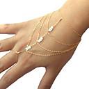 billige Motearmbånd-Dame Krystall Lag-på-lag Dusk Vedhend Armband Ringarmbånd - Imitert Perle Unikt design, Enkel Stil, Mote Armbånd Gull Til Julegaver Fest Daglig