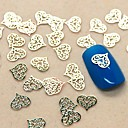 cheap Cake Toppers-200pcs hollow lace heart shape slice metal nail art decoration