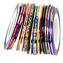 cheap Nail Stickers-30pcs mixed colors rolls striping tape line nail art decoration sticker