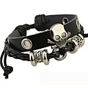 cheap Men's Necklaces-Men's Leather Bracelet - Leather Skull Unique Design, Beaded, Fashion Bracelet Silver / Black For Christmas Gifts Daily