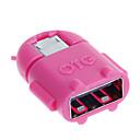 preiswerte USB Kabel-hf-Android-Micro-USB-Stecker auf USB 2.0 OTG Adapter weiblich - grün + tief rosa (2 Stück)