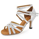 cheap Latin Shoes-Women's Latin Shoes Leatherette Sandal Buckle Customized Heel Customizable Dance Shoes Silver / Brown / Gold