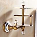 baratos Prateleiras de Banheiro-Suporte para Papel Higiênico Removível Clássica Latão Cristal Cerâmica 1 Pça. - Banho do hotel