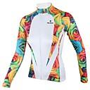 abordables Luces y Reflectores para Bicicleta-ILPALADINO Mujer Manga Larga Maillot de Ciclismo - Blanco Flores / Botánica Bicicleta Camiseta / Maillot, Secado rápido, Transpirable