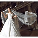 cheap Wedding Veils-One-tier Lace Applique Edge Wedding Veil Cathedral Veils 53 118.11 in (300cm) Tulle