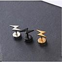 abordables Pendientes-Pendientes cortos - Titanio Acero Forma de Alfabeto inicial Negro / Plata / Dorado Para Boda Fiesta Diario