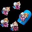 cheap Nail Stamping-10pcs glitter 3d rhinestone flower diy alloy accessories nail art decoration