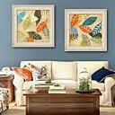 ieftine Pilotă geometrice-Floral/Botanic Pânză Înrămată / Set Înrămat Wall Art,PVC Bej Fără Rogojină cu Frame Wall Art