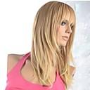 billige Syntetiske parykker uten hette-Syntetiske parykker Rett Blond 120% Menneskehår Parykk Tetthet Syntetisk hår Blond Parykk Dame Lokkløs Gylden Brun med Blonde