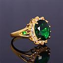 זול Fashion Ring-בגדי ריקוד נשים טבעת הטבעת - זירקון, זירקוניה מעוקבת, ציפוי זהב אבני מזלות 6 / 7 / 8 אדום / ירוק / כחול עבור חתונה / Party / יומי