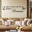 cheap Wall Stickers-Words & Quotes Wall Stickers Plane Wall Stickers Decorative Wall Stickers, PVC Home Decoration Wall Decal Wall