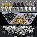 preiswerte Nagel Strass & Dekorationen-30pc Gold und Silber und schwarz-Legierung Punkkegelnagelkunstdekoration