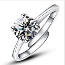 cheap Rings-Women's Engagement Ring Statement Ring Silver Sterling Silver Imitation Diamond Four Prongs Classic Love Open Fashion Adjustable Wedding