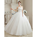 cheap Men's Oxfords-Ball Gown Sweetheart Neckline Floor Length Organza Made-To-Measure Wedding Dresses with Beading / Flower by