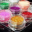 cheap Nail Glitter-12pcs mixed color glitter powder nail art decorations