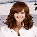 preiswerte Synthetische Perücken ohne Kappe-Synthetische Perücken Locken Stufenhaarschnitt Synthetische Haare Natürlicher Haaransatz Dunkelbraun Perücke Damen Lang Kappenlos