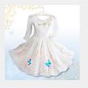 abordables Vestidos de Niña-Vestido Chica de Floral Manga Larga Verano Blanco