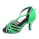 ieftine Savori Lumânare-Pentru femei Pantofi Dans Latin Satin Sandale Piatră Semiprețioasă / Cataramă Toc Personalizat Personalizabili Pantofi de dans Verde