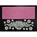 preiswerte Kuchenbackformen-Vier c Zucker Bastelbedarf Silikon Spitzen-Pad Dekorations Matte zum Backen, Silikonmatte Fondantkuchen Werkzeuge Farbe Rosa