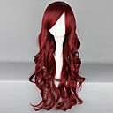 cheap Synthetic Capless Wigs-Synthetic Wig Curly / Deep Wave Asymmetrical Haircut / With Bangs Synthetic Hair Natural Hairline / Side Part Red Wig Women's Long Capless
