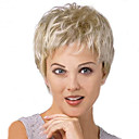 billige Syntetiske parykker uten hette-Syntetiske parykker Blond Blond Parykk Dame Kort Sølv
