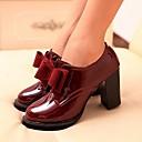 olcso Női topánkák és vászoncipők-Női Cipő Bőrutánzat Tavasz / Nyár / Ősz Vaskosabb sarok Csokor Burgundi vörös / Fekete