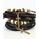 cheap Religious Jewelry-Men's Beaded Wrap Bracelet Vintage Bracelet Leather Bracelet - Leather Cross Ladies Bracelet Jewelry Black / Brown For Christmas Gifts Daily