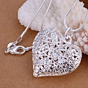 cheap Jewelry Sets-Women's Hollow Pendant Necklace - S925 Sterling Silver Heart, Love Fashion Silver 45 cm Necklace 1pc For Wedding, Party, Daily