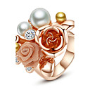 cheap Rings-Women's Statement Ring - Pearl, Gold Plated, Alloy Flower Fashion, Statement One Size For Party