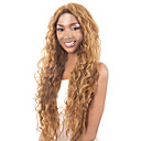 cheap Synthetic Capless Wigs-Synthetic Wig Curly / Kinky Curly / Loose Wave Blonde Asymmetrical Haircut Synthetic Hair 20 inch Natural Hairline Blonde Wig Women's Long Capless Golden Brown With Blonde
