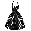 cheap Earrings-Women's Plus Size Party Vintage A Line Dress - Polka Dot Backless Halter Neck