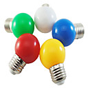 cheap LED Globe Bulbs-5pcs Coloured E27 1W Energy Saving 6 LED Light Bulbs Globe Lamp DIY  White Green Yellow Blue Red color Bright AC220-240V