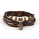 cheap Men's Bracelets-Men's Beaded / Layered Wrap Bracelet / Leather Bracelet - Leather Vintage, Inspirational, Multi Layer Bracelet Brown For Christmas Gifts / Daily / Sports