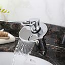 baratos Torneiras de Banheiro-Moderna Conjunto Central Cascata Válvula Cerâmica Monocomando e Uma Abertura Cromado, Torneira pia do banheiro