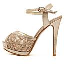 baratos Sandálias Femininas-Mulheres Sapatos Tule Verão Salto Agulha / Plataforma Prata / Dourado