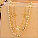 billige Smykkeemballasje og displayer-Dame Perle Lag-på-lag Kjedehalskjeder / lagdelte Hals - Perle, Fuskediamant Multi Layer Gull Halskjeder Smykker Til