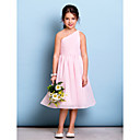 cheap Fishing Lures & Flies-A-Line One Shoulder Knee Length Chiffon Junior Bridesmaid Dress with Draping / Side Draping / Ruched by LAN TING BRIDE® / Natural