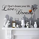 halpa Seinätarrat-Words & Quotes Wall Tarrat Words & Quotes Wall Stickers Koriste-seinätarrat, Vinyyli Kodinsisustus Seinätarra Seinä