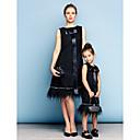 preiswerte Dekorative Kissen-A-Linie Schmuck Knie-Länge Baumwolle Mini Me Cocktailparty / Festtage Kleid mit Kristall Verzierung durch TS Couture®