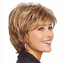 cheap Synthetic Wigs-Synthetic Wig Wavy With Bangs Synthetic Hair Highlighted / Balayage Hair / With Bangs Brown Wig Women's Short Capless