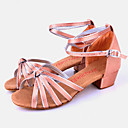 cheap Earrings-Latin Shoes Satin / Silk Sandal Buckle Chunky Heel Non Customizable Dance Shoes Camel / Indoor / Leather
