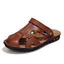 cheap Men's Slip-ons & Loafers-Men's Leather / Faux Leather Spring / Summer Comfort Sandals Black / Brown / Khaki