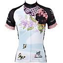 baratos Camisas Para Ciclismo-ILPALADINO Mulheres Manga Curta Camisa para Ciclismo Azul Floral Botânico Tamanhos Grandes Moto Camisa / Roupas Para Esporte Blusas Respirável Secagem Rápida Resistente Raios Ultravioleta Esportes