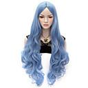 preiswerte Anime Cosplay Perücken-Synthetische Perücken / Perücken Wellen / Große Wellen Synthetische Haare Blau Perücke Damen Sehr lang Kappenlos Blau