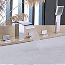 billige Badekraner-Badekarskran - Moderne Krom Badekar Og Dusj Keramisk Ventil Bath Shower Mixer Taps / Messing / To Håndtak fem hull